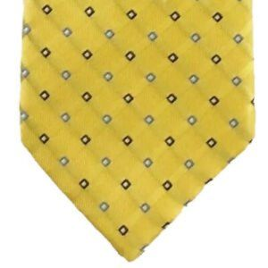 Club Room Mens Necktie Yellow Blue White Silk 59x3